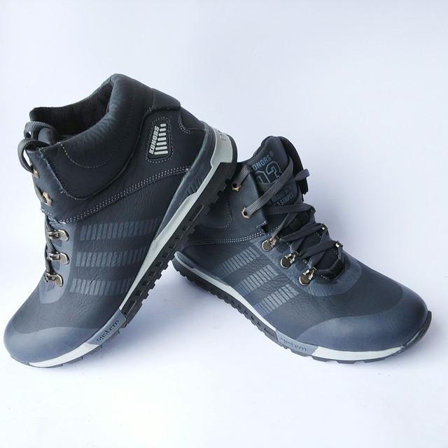 кожаная мужская зимняя обувь Konorss спортивные кроссовки синего цвета на шерсти