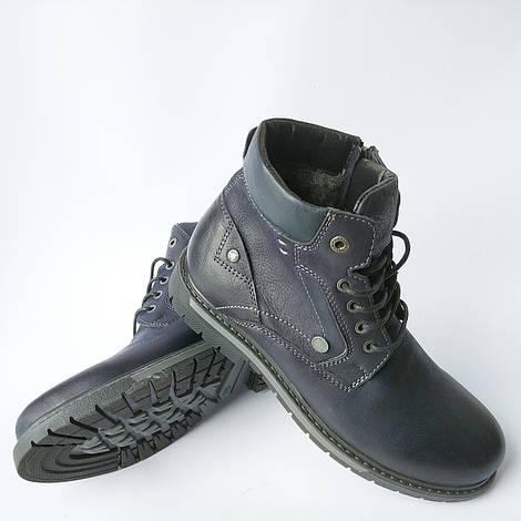 Slat обувь мужская Харьков : зимние, кожаные ботинки, синего цвета, на шерсти