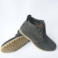 Зимняя мужская обувь коннорс : замшевые ботинки, черного цвета, на шерсти