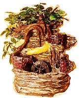 Фонтан подвесной декоративный Пейзаж деревья штучные корзины подсветка МЕЛЬНИЦА 35=35=16