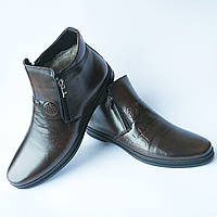 Nord обувь Львов : зимние мужские кожаные ботинки, цвета кабир, на италийском меху