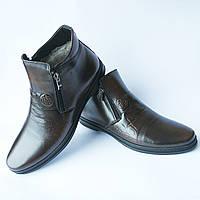 """Зимние кожаные мужские ботинки фабрики """"Nord West"""" на меху цвета кабир 43, Коричневый"""