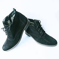 Зимняя обувь мужская Харьков : замшевые ботинки, черного цвета, на меху, фабрики Van Kristi