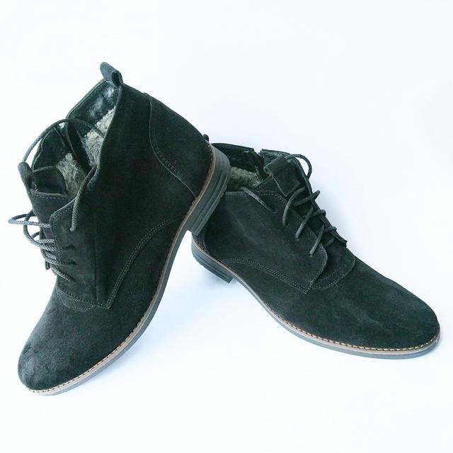 кожаная зимняя обувь мужская от Van Kristi Харьков черные замшевые ботинки на меху на шнурку и замку