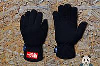 Мужские зимние перчатки флисовые черные тнф/The North Face реплика, фото 1