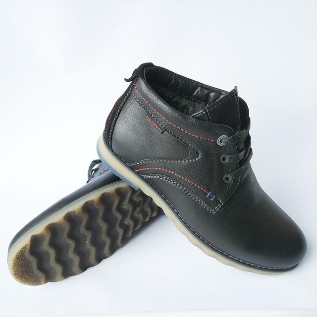 Зимняя мужская Slat обувь украинских производителей кожаные ботинки черного цвета