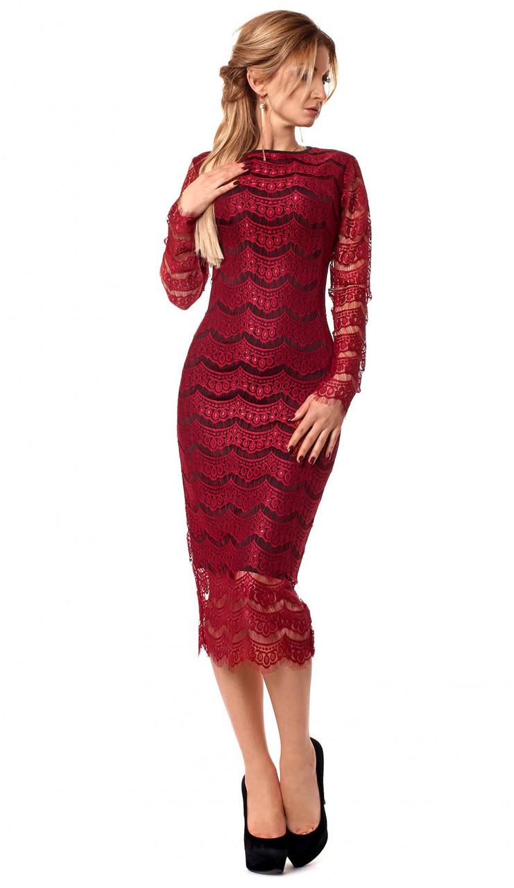 55684363938 Купить Вечернее платье бордового цвета с кружевом. Модель 1057 в ...