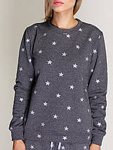 Костюм женский, свитшот и спортивные штаны, графит со звёздами, фото 2