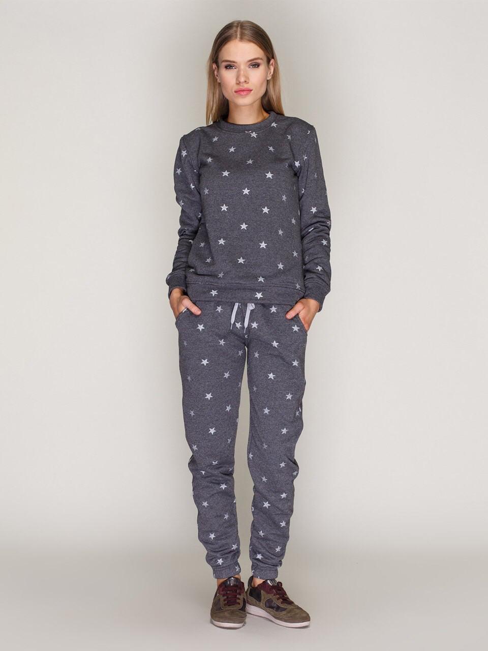 Костюм женский, свитшот и спортивные штаны, графит со звёздами