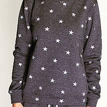 Костюм женский, свитшот и спортивные штаны, графит со звёздами, фото 3