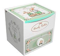 "Шкатулка детская ""Lovely Rabbits"" белая, деревянная Размер: 11-11-11 см."