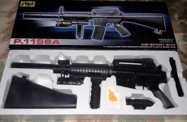 Игрушечный Автомат - Винтовка Cyma P.1158 А (M16) лазер, фонарик.