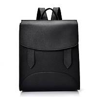 Рюкзак женский городской  с хлястиками (черный), фото 1