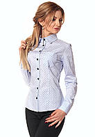 """Женская коттоновая рубашка с длинным рукавом голубого цвета с рисунком """"точки"""". Модель 410"""