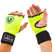 Боксерские перчатки с бинтом Velo(х/б,размер S-XL,салатовый)