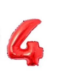 Большой воздушный шар в форме цифры 4 из фольги. 1 м.  Цвет красный