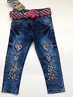 Детские джинсы на девочку 3-6 лет весна сердечки