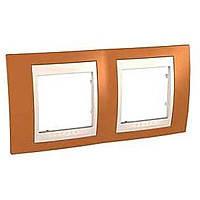 Рамка Schneider-Electric Unica Plus 2-поста оранжевый / сл. кость MGU6.004.569