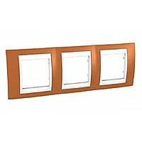 Рамка Schneider-Electric Unica Plus 3-поста оранжевый / сл. кость MGU6.006.569