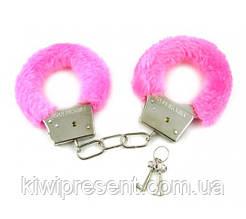 Меховые наручники розовые для ролевых игр