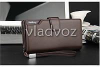 Модный мужской кошелек клатч бумажник органайзер для телефона карточек денег коричневый