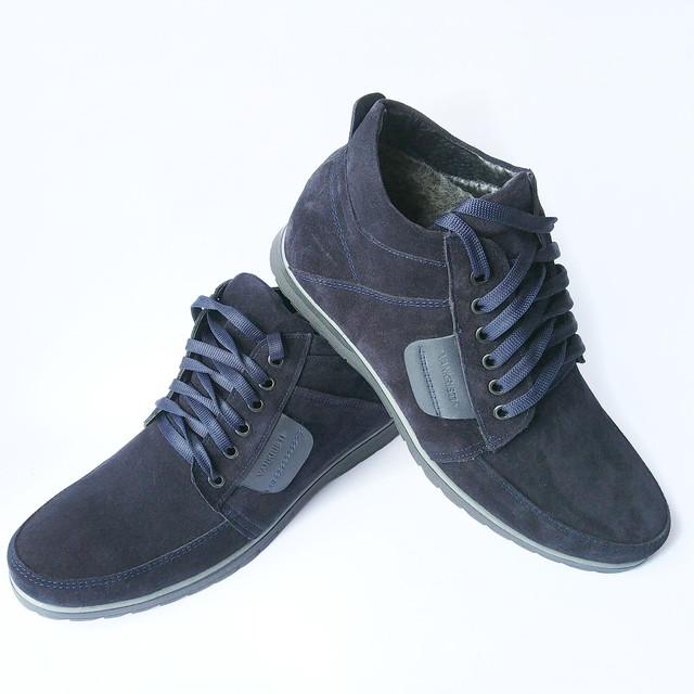 мужская кожаная зимняя обувь Харьков молодежные замшевые ботинки синего цвета на меху повседневные от фабрики Van Kristi