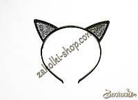 Обруч для волос ушки кошки с камнями