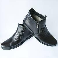 """Зимние черные кожаные мужские ботинки фабрики """"Nord West"""" на меху Черный, 43"""