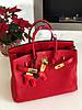 Роскошная женская сумка Гермес Биркин 35 см красная (реплика)