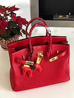 Роскошная женская сумка Гермес Биркин 35 см красная (реплика), фото 1