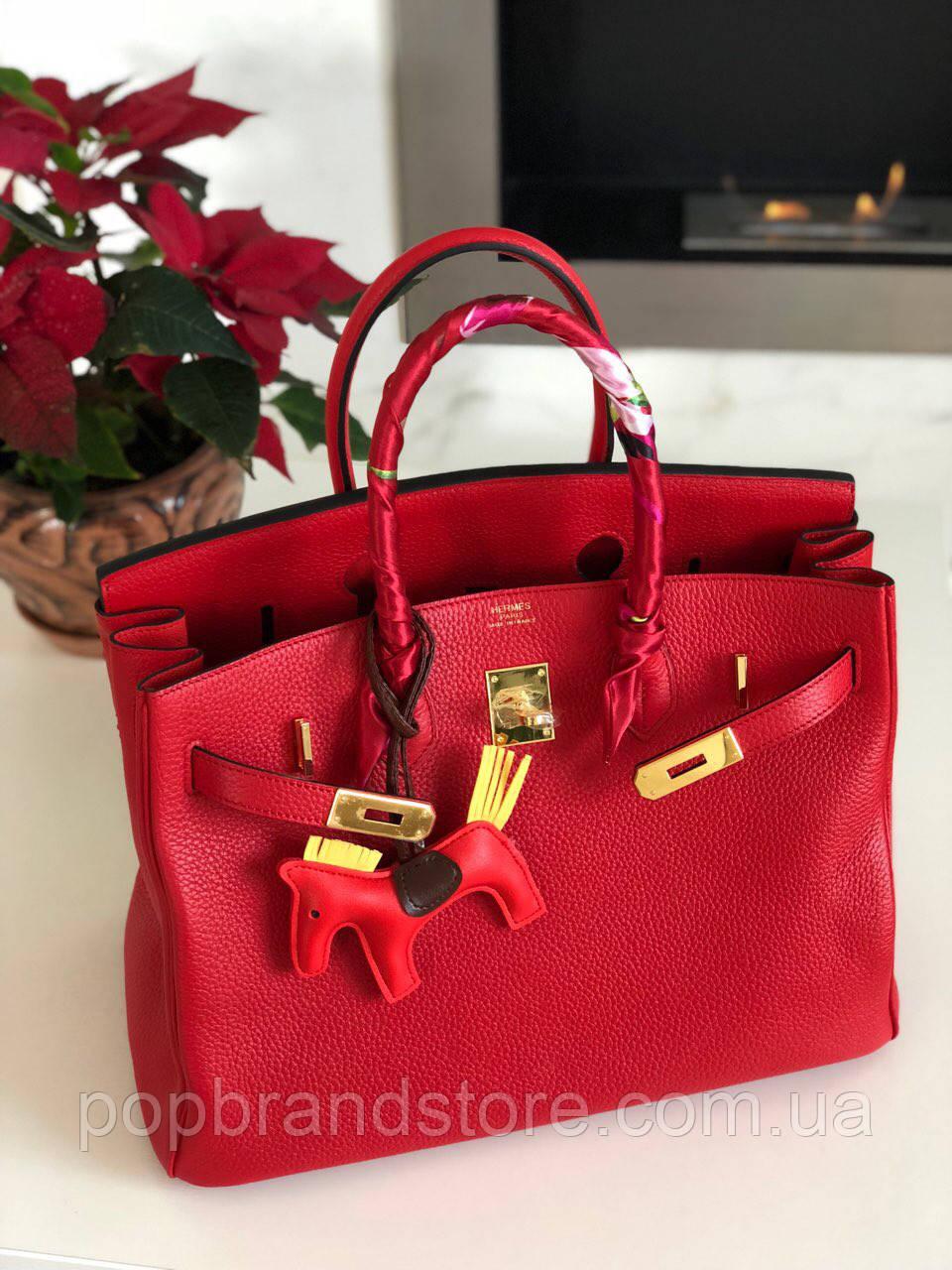 Роскошная женская сумка Гермес Биркин 35 см красная (реплика ... 83f874606237c