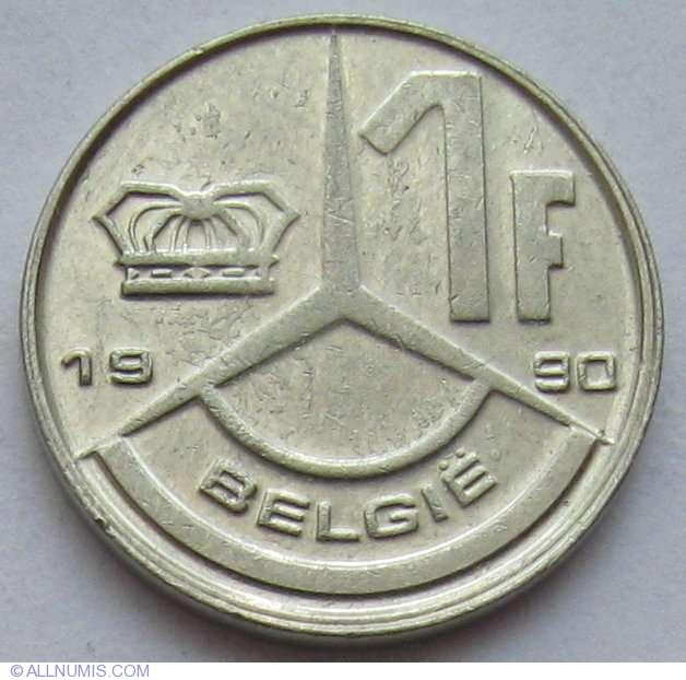 Бельгия 1 франк 1990г.
