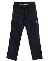 """№-8 Iteno темно-синие (29-38, 6 ед.) """"классика"""" мужские брюки с накладными карманами в коттоне"""