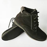 Зимняя обувь Бровары фабрики Cliford : мужские, замшевые ботинки, черного цвета, на меху