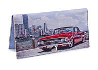 Женский кошелек -Красная машина на мосту-. Ручная работа