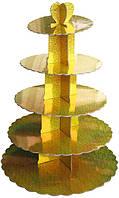Стенд пятиярусный картонный круглый для капкейков золотого цвета с голограммой (шт)