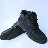 Купить мужскую обувь Бровары : зимние ботинки, замшевые, синего цвета, на меху от фабрики Cliford