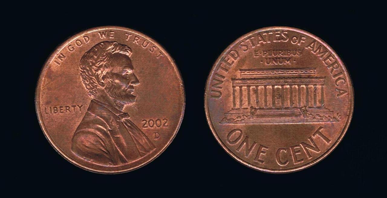 США 1 цент 2002 г.
