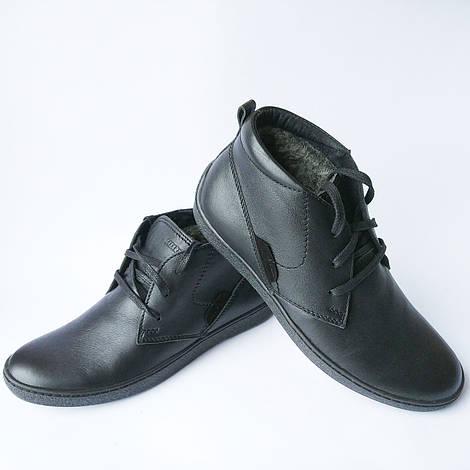 Зимняя мужская обувь украинских производителей : кожаные ботинки, черного цвета, на меху, фабрики Safari