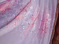 Тюль белый шифон с розовой вышивкой и ламбрекеном