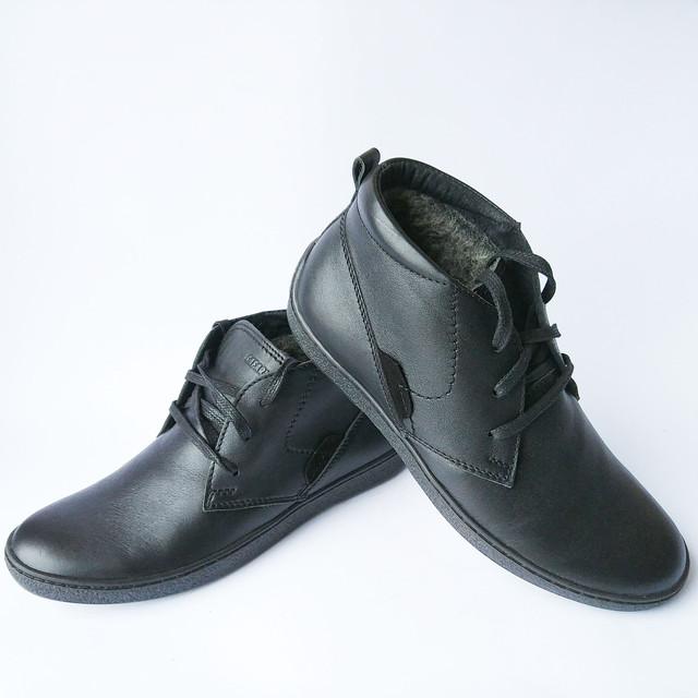 Повседневная, зимняя, мужская обувь украинских производителей кожаные ботинки, черного цвета, на меху, на шнуровке от хмельницкой фабрики Safari