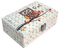 """Шкатулка """"Owl"""" для украшений, кожзам, 16,5-10,5-6 см."""