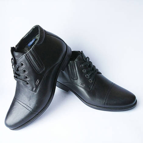 Купить обувь Харьков   мужские зимние классический кожаные ботинки, черного  цвета, на шерсти фабрики 8d5aa2c1fe2