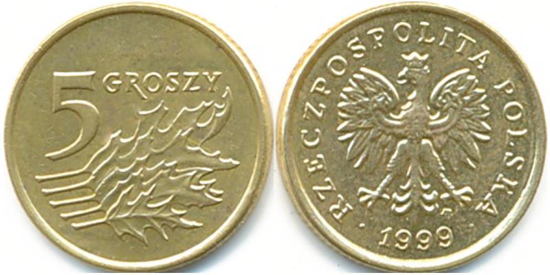 Польща 5 грошів 1990-2016рр.