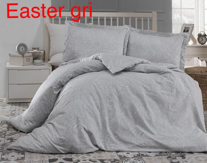 Постельное белье сатин Altinbasak (евро-размер) № Easter Gri
