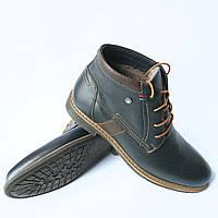 """Зимние синие кожаные мужские ботинки фабрики """"L-style"""" на шерсти синий, 41"""