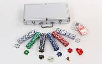 Набор для покера в алюминиевом кейсе IG-2114 на 300 фишек с номиналом. Распродажа!
