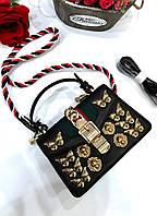 Краснаякожаная сумка Gucci Sylvie' с заклепками (реплика), фото 1