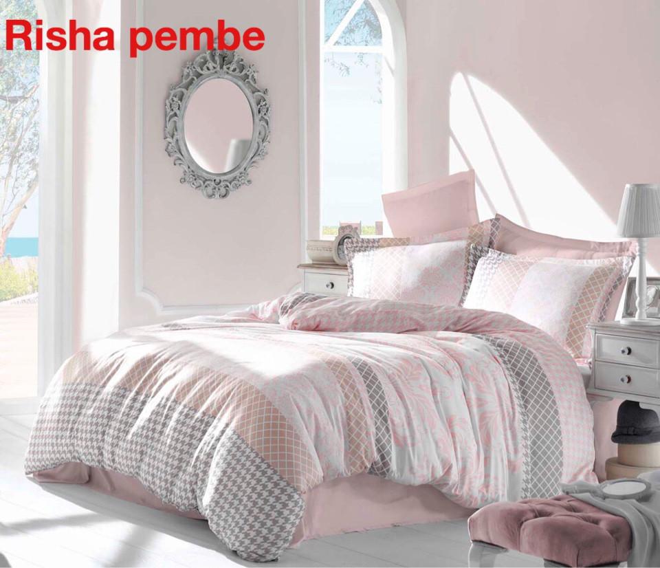 Постельное белье сатин Altinbasak (евро-размер) № Risha Pembe