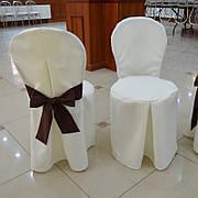 Чехол с Бантом-поясом на круглый стул из прочной лёгкой ткани